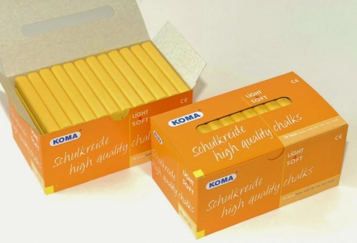 KOMA Schulkreide einfarbig gelb, Schachtel à 72 Stück