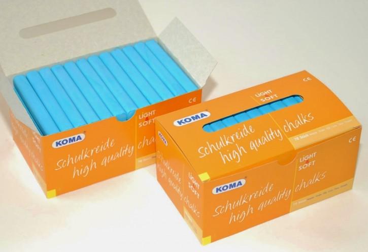 KOMA Schulkreide hellblau, Schachtel à 72 Stück