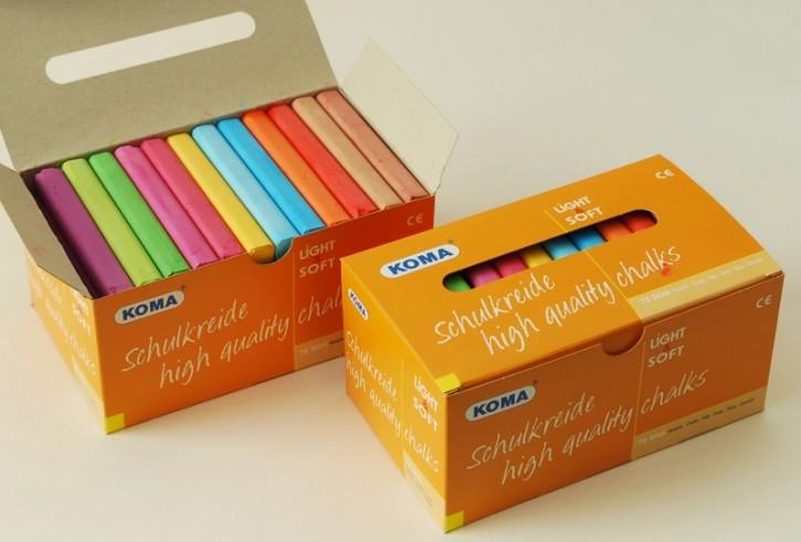 KOMA Schulkreide, Schachtel à 72-Stück, 12-farbig sortiert