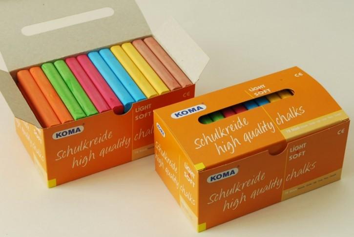 KOMA Schulkreide, Schachtel à 72 Stück, 4-, 6-, oder 12-farbig sortiert