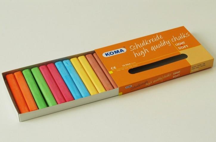 KOMA Schulkreide 6-farbig sortiert, Schachtel à 12 Stück