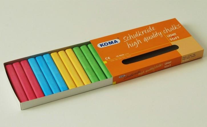 KOMA Schulkreide 4-farbig sortiert, Schachtel à 12 Stück
