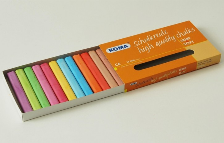 KOMA Schulkreide 12-farbig sortiert, Schachtel à 12 Stück
