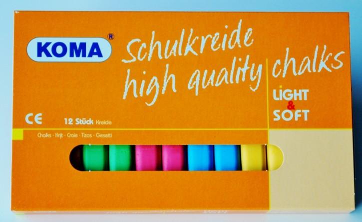 KOMA Schulkreide farbig sortiert, Schachtel à 12 Stück