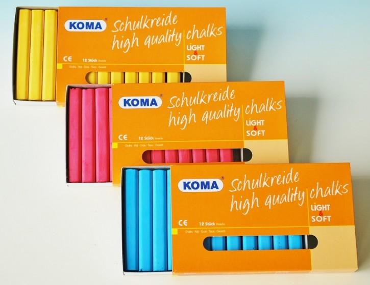 KOMA Schulkreide einfarbig, Schachtel à 12 Stück