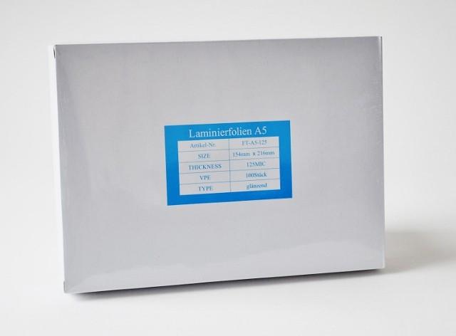 Laminierfolientaschen DIN A5, 2x125 mic., Schachtel à 100 Stück