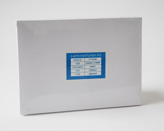 Laminierfolientaschen DIN A5, 2x80 mic., Schachtel à  100 Stück