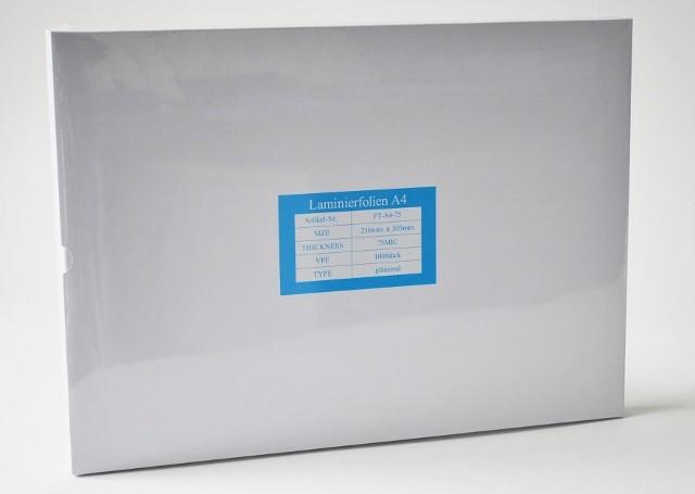 Laminierfolientaschen DIN A4, 2x75 mic., Schachtel à 100 Stück