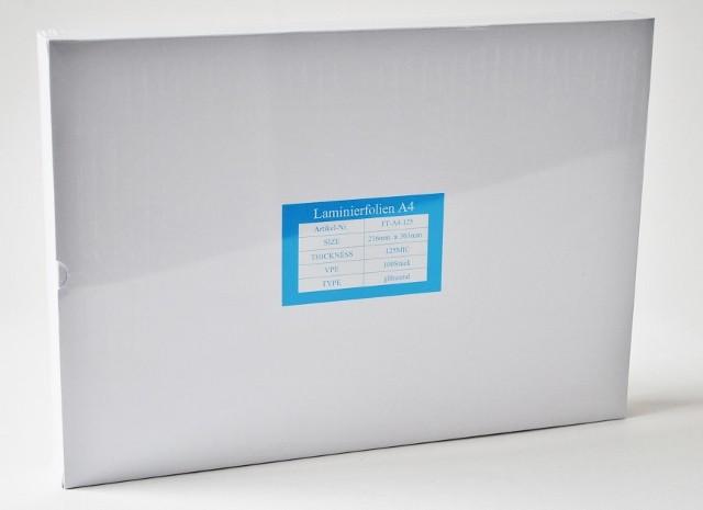 Laminierfolientaschen DIN A4, 2x125 mic., Schachtel à 100 Stück