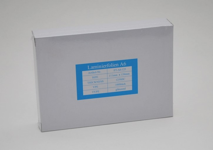 Laminierfolientasche DIN A6, 2 X 125 mic., Schachtel à 100 Stück