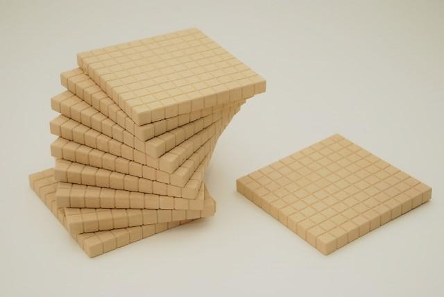 Dienes Hunderterplatte aus Re-Wood naturfarben, 10 St.