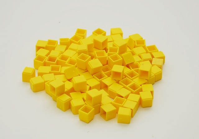 Dienes Einerwürfel gelb, aus Re-Plastik, 100 Stück