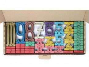 Stapelzahlen farbig, aus Re-Wood, 100er Raum, 34-teilig